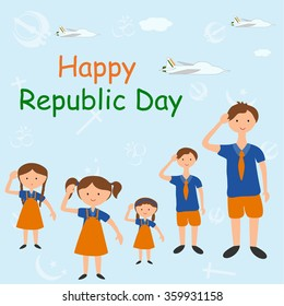 Indian student saluting on Republic Day of India in vector background