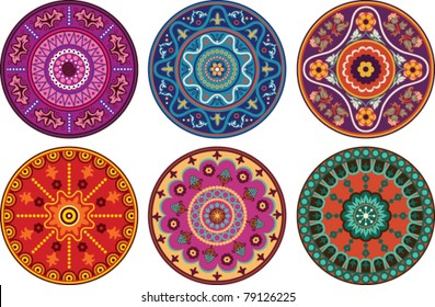 Indian style floral color ornament