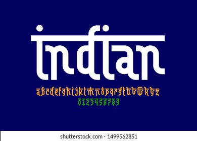 Indian style Latin font design, Devanagari inspared alphabet, letters and numbers, vector illustration