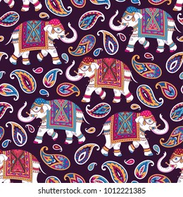Indian style ornament  with elefpants and paisleys on dark background. Seamless pattern for textile and decoration