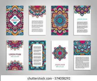 Indian style vertical flyer set with bright colorful mandala. Front and back pages. Ethnic ornamental blank. Oriental design concept. Eastern collection. EPS 10 vector. Clipping masks