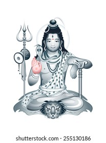 Indian Supreme God Shiva sitting in meditation