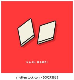 Indian Sweet Kaju Barfi (Line Art Vector Illustration in Flat Style Design)