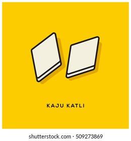 Indian Sweet Kaju Katli (Line Art Vector Illustration in Flat Style Design)