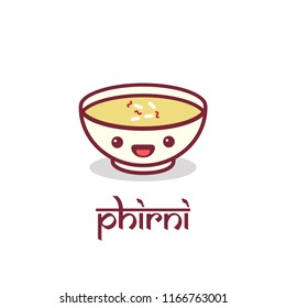 Indian Sweet Phirni Vector Illustration with Happy Smiling Face
