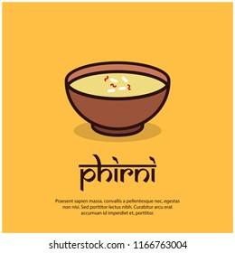 Indian Sweet Phirni Vector Illustration