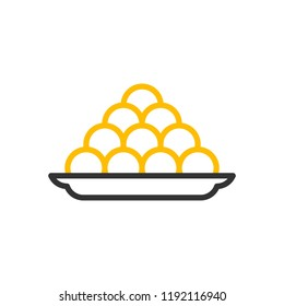 Indian sweets icon. Vector thin line illustration