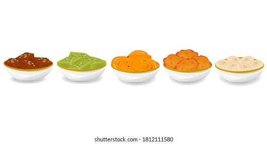 Indian Sweets or Mithai Like Barfi,Halwa,Jalebi,Malpua,Sandesh