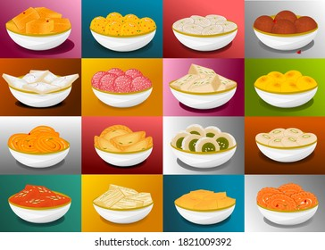Indian Sweets or Mithai like Gulab jamun,Jalebi,Barfi,Halwa,Laddu,Petha,Sandesh,Gujiya,Kaju katli