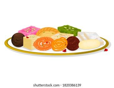 Indian Sweets or Mithai Like Jalebi,Laddu,Barfi,Gujiya,Rasgulla,Soanpapdi,Kaju katli