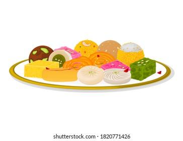 Indian Sweets or Mithai Like Jalebi,Sandesh,Barfi,Laddu,Petha,Kaju katli