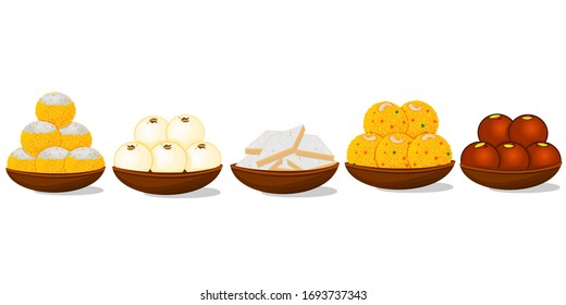 Indian Sweets or Mithai Like Ladoo,Kaju katli,Rasgulla,Gulab jamun