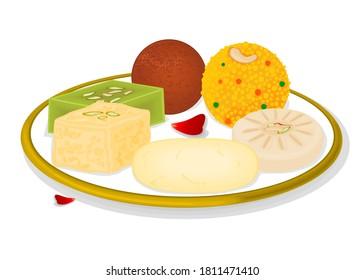 Indian Sweets or Mithai Like Rasgulla,Kalakand,Gulab jamun,Halwa,Sandesh,Laddu