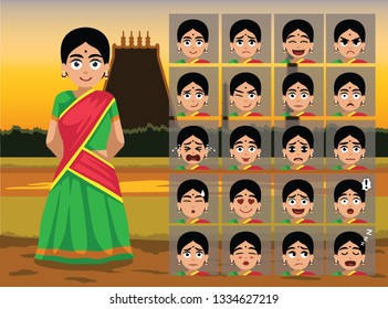 Indian Tamil Traditional Woman Cartoon Emotion faces Vector Illustration-01