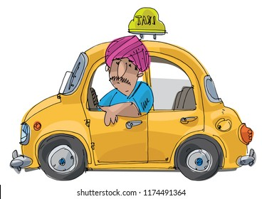 Indian taxi driver in turban sitting in taxi car. Caricature. Cartoon.