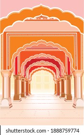 Indian temple vector illustration. Arches ancient building spirituality. touristic place. Palace. Yoga spa symbol. Orange, red, pastel colours. Religious architecture. Separate frames, Columns
