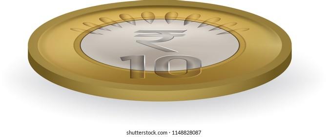Indian ten rupee coin vector illustration