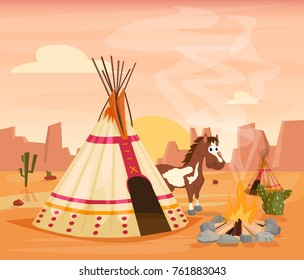 Indian tent and horse