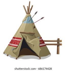 Indian tent or wigwam pierced with arrows isolated on white background. Vector cartoon close-up illustration.