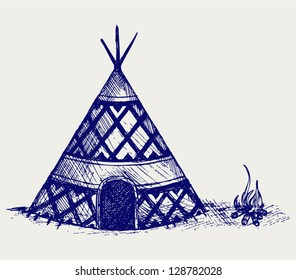 Indian tepee. Doodle style