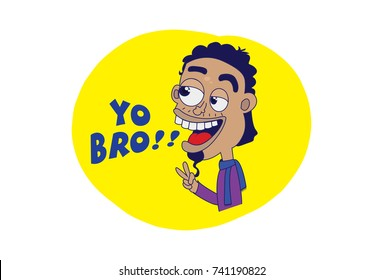 Indian themed Chat Stickers - a chilled boy saying YO BRO. Vector Illustration. Isolated on white background.