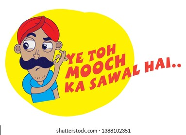 Indian themed Chat Stickers - a man saying this is a question of the mustache. Vector Illustration. Isolated on white background.