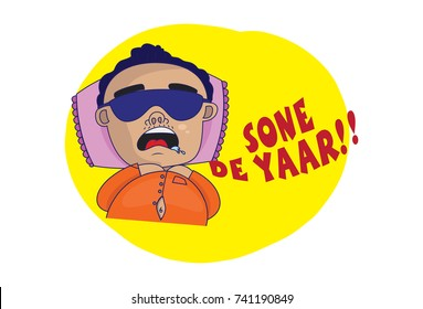 Indian themed Chat Stickers - a man sleeping and saying SONE DE YAAR. Vector Illustration. Isolated on white background.