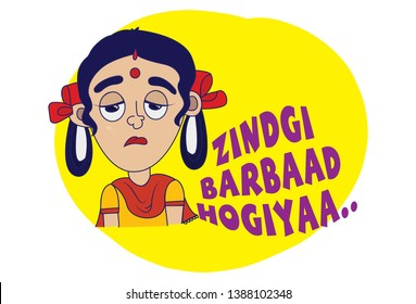 Indian themed Chat Stickers - a woman saying life is destroyed. Vector Illustration. Isolated on white background.