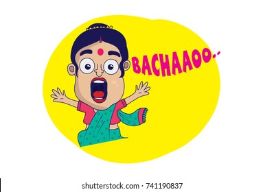 Indian themed Chat Stickers - a Woman shouting HELP. Vector Illustration. Isolated on white background.