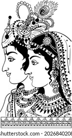 Indian traditional art hand drawing of bride and groom illustration line art black and white clip art. Rajasthani dulha dulha (bride and groom) clip art for wedding card. Indian king queen line drawin