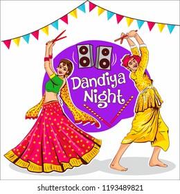 indian traditional dance  dandiya. Vector illustration happy navratri