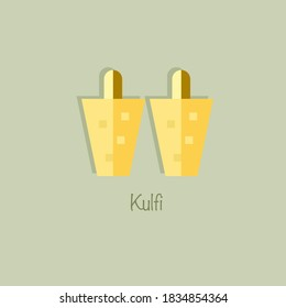 "Indian traditional dessert ""Kulfi"".Kulfi vector icon."