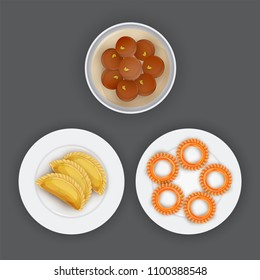 Indian traditional desserts like Shahi Gulab Jamun, Gujhiya, and Imarti or Jalebi on grey background.