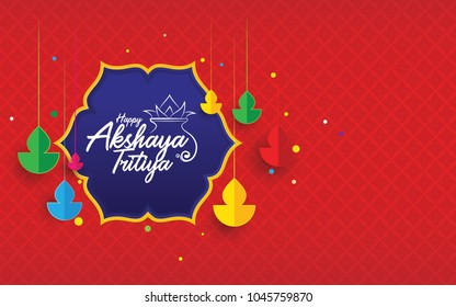 Indian Traditional Festival Akshaya Tritiya Background with Creative Colorful Hanging Lamps