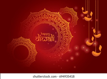 Indian Traditional Festival Diwali Design Template with Round Floral