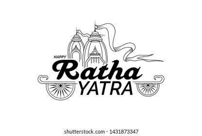 Indian Traditional Festival Happy Ratha Yatra Greeting Background Black and White