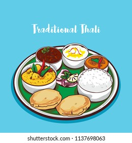 indian traditional festive thali