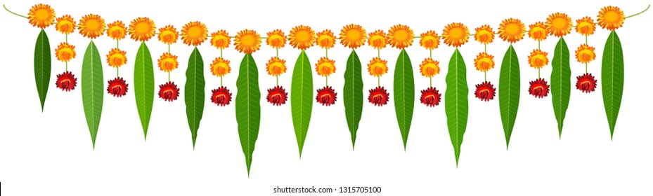 Indian traditional mala garland mango leaves and orange flowers. Isolated on white vector cartoon illustration