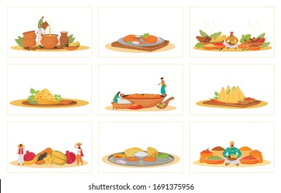 Indian traditional meals flat concept vector illustrations set. Restaurant food cooking and serving metaphors. Hindu cooks and servants, tropical fruits and spice vendors 2D cartoon characters