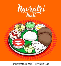 indian traditional Navratri Thali. Vector illustration
