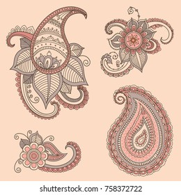 Indian traditional ornamental elements. Flover and paisley in mehndi style