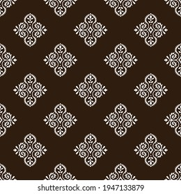 Indian traditional pattern, floral seamless vector background for saree clothes textile, fabric print. Seamless paisley backdrop with leaves and flowers, Brazier