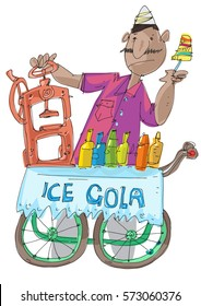Indian traditional street food. Sweet ice - Cola Gola. Indian vendor is selling frozen juice.