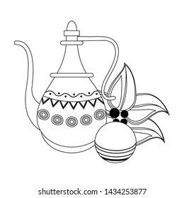 indian traditional teapot with cricket ball and leaves icon cartoon vector illustration graphic design