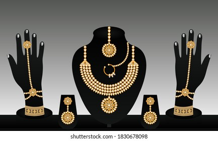 Indian traditional vector gold and pearl bracelet necklace beautiful earrings and rings jewellery set for women.