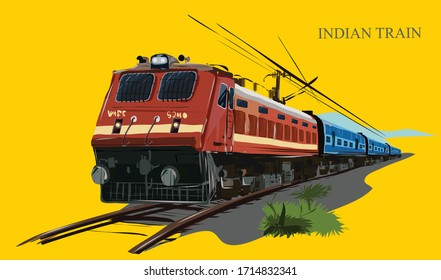 the indian train vector illustration