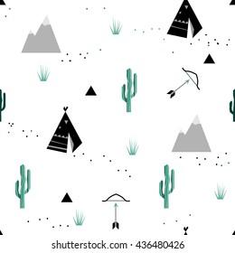Indian tribal background. Scandinavian geometric seamless pattern. Simple flat wigwam, forest, arrow, cactus and landscape elements. Map texture. Minimalist design. Cartoon illustration