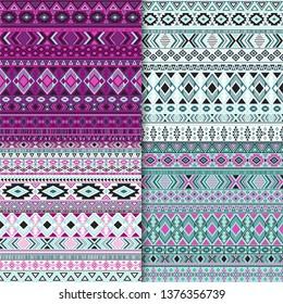 Indian tribal ethnic motifs geometric patterns set. Unusual tribal motifs clothing fabric textile ethno prints traditional design. South american folk fashion prints.