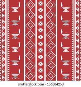 Indian tribal Painting of diwali diyas. Warli Painting textile seamless pattern gift paper