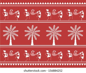 Indian tribal Painting of people dancing and trees. Warli Painting textile seamless pattern gift paper